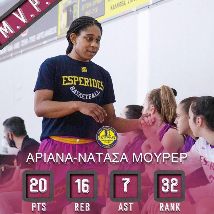 Α1 Γυναικών: Η Μούρερ MVP της 9ης Αγωνιστικής